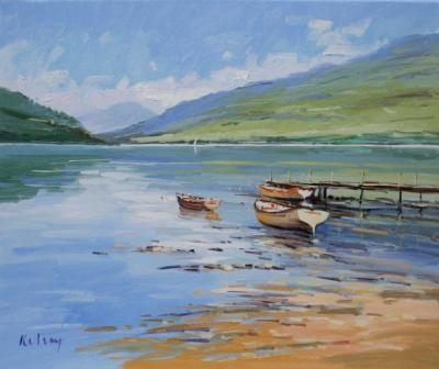Scottish Artist Robert KELSEY - Still Morning, Loch Eck