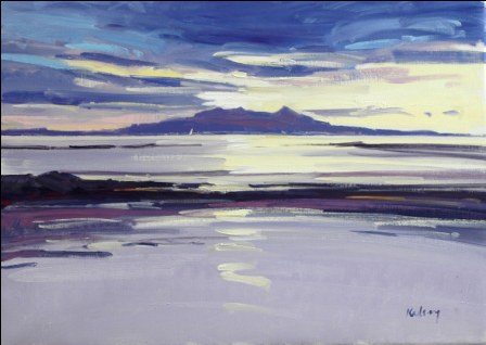Scottish Artist Robert KELSEY - Sunset over Arran