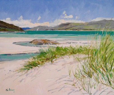 Scottish Artist Robert KELSEY - Beach Grass at Morar