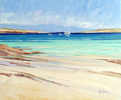 Scottish Artist Robert KELSEY - Boat Moorings Iona
