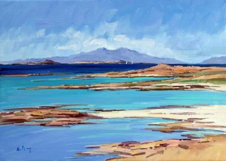 Scottish Artist Robert KELSEY - Distant Yachts, Ardnamurchan