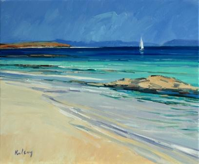 Scottish Artist Robert KELSEY - Sailing off Iona