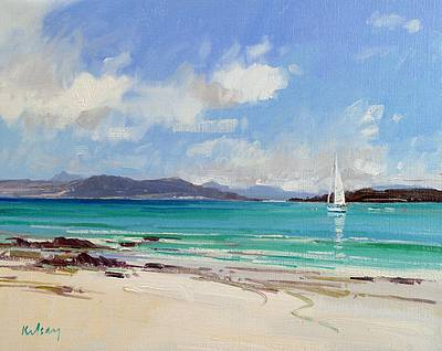 Scottish Artist Robert KELSEY - Yacht in the Sound of Iona