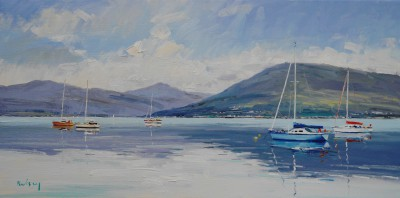 Scottish Artist Robert KELSEY - Yachts moored off Gourock