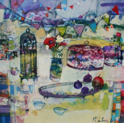 Scottish Artist Rory McLAUCHLAN  - Still Life with Pansies and Plums