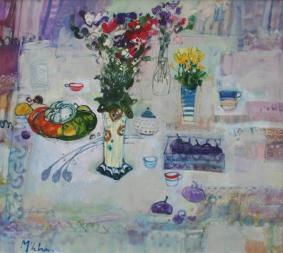 Scottish Artist Rory McLAUCHLAN  - Still Life with Sweetpeas and Pumpkin