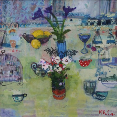 Scottish Artist Rory McLAUCHLAN  - Still Life with Polkadot Tea Cup