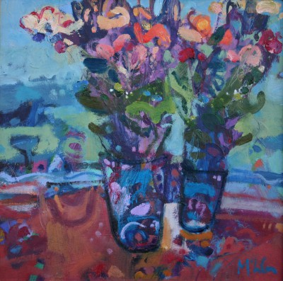 Mixed Bunches with Tansy painting by artist Rory McLAUCHLAN