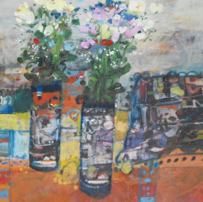Scottish Artist Rory McLAUCHLAN  - Still Life with Hollyhocks