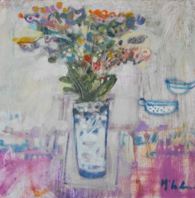Scottish Artist Rory McLAUCHLAN  - Wild Flowers with Porcelain Cups