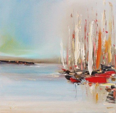 Scottish Artist Rosanne BARR - A Crowd of Boats
