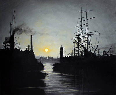 Scottish Artist Ryan MUTTER - Tall Ship in a Busy Port