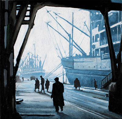 Scottish Artist Ryan MUTTER - A Busy Day at the Dockside