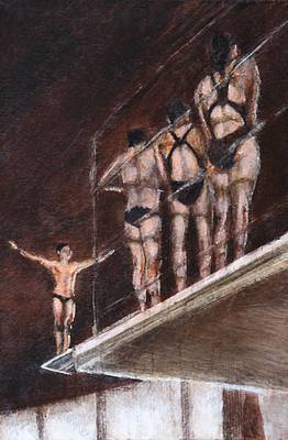 Scottish Artist Sarah KEER-KEER - Group of Divers on the Platform