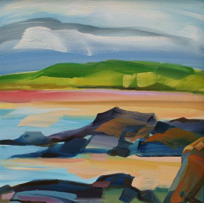Rocks at Forvie painting by artist Shona BARR