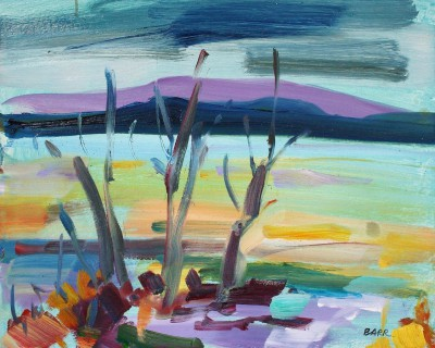 Scottish Artist Shona BARR - Trees by Loch Lomond Study