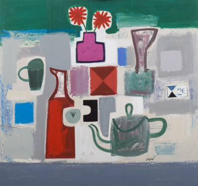 Simon LAURIE  RGI - Tea Pot and Flowers