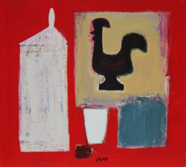 Simon LAURIE  RGI - Jar and Cockerel on Red