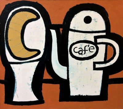 Scottish Artist Simon LAURIE  RGI - Cafe