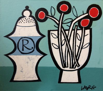 Scottish Artist Simon LAURIE  RGI - Pepper Pot and Flowers