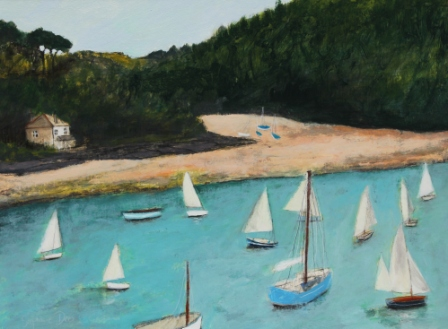 Scottish Artist Stephanie DEES - Boats at Salcombe