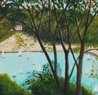 Scottish Artist Stephanie DEES - Boats from  above Salcombe