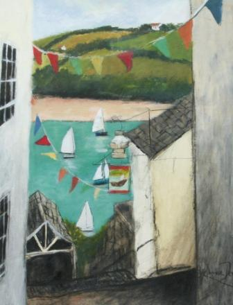 Scottish Artist Stephanie DEES - Boats and Bunting Salcombe