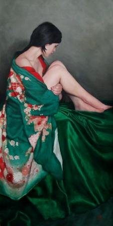 Scottish Artist Stephanie REW - Seated in Green Furisode Kimono