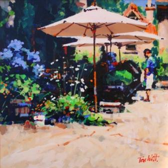 Scottish Artist Tom WATT - Mid-day Cafe, St Cirq Lapopie
