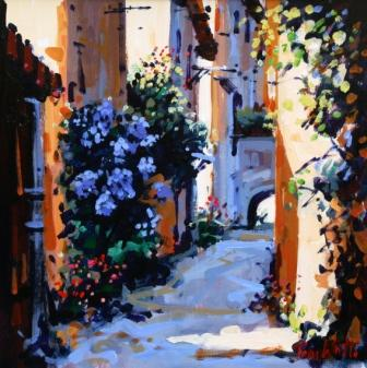 Alley 'Les Bleus' Cajarc painting by artist Tom WATT