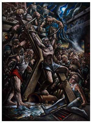 Scottish Artist Peter HOWSON - Crucifixion of Saint Andrew